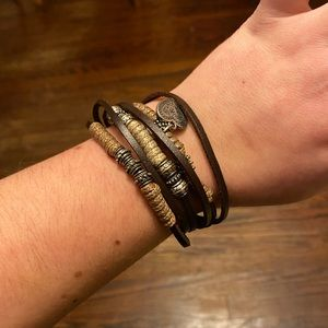 Strappy Leather & Rope Bracelet w Magnetic Closure